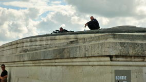 Arc de Triomphe snipers. PARIS, FRANCE - JULY 2, 2017: snipers of French Armed Forces of France, keeping security after recent terrorist attacks in Paris. Arc de stock video footage