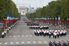 Paris, France - July 14, 2012. Soldiers from the French Foreign Legion march during the annual military parade . Royalty Free Stock Image