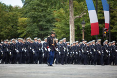 Paris, France - July 14, 2012. Soldiers from the French Foreign Legion march during the annual military parade . Royalty Free Stock Images