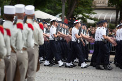 Paris, France - July 14, 2012. Soldiers from the French Foreign Legion march during the annual military parade . Stock Photo