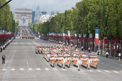 Paris, France - July 14, 2012. Soldiers - pioneers march during the annual military parade in honor of the Bastille Day. Paris, France - July 14, 2012. Soldiers stock photo