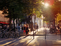 Paris, France - July 2014 - Summer street view in Paris magical Royalty Free Stock Photo