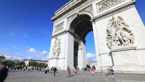 Arc de Triomphe tourists. PARIS, FRANCE - JULY 2, 2017: time lapse of tourists under Arch of triumph. Arc de Triomphe at the western end of the Champs Elysees stock video footage