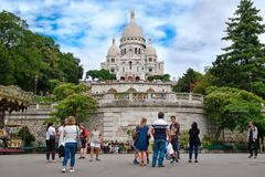 Tourists at the Sacre Coeur Basilica in Montmartre Royalty Free Stock Photo