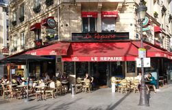 The traditional Parisian cafe Le Repaire located at Ornano boulevard in Paris,France stock photos