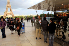 PARIS, FRANCE, July 26, 2013 - Trocadero Eiffel Tower in the background. Royalty Free Stock Photography