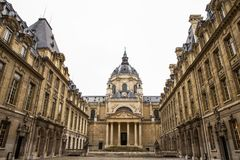 Sorbonne University in Paris. PARIS, FRANCE - JULY 10, 2014: The University of Paris  Universite de Paris , Sorbonne university, famous university in Paris Royalty Free Stock Images