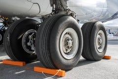 Main landing gear on an Airbus A380 passenger plane royalty free stock image