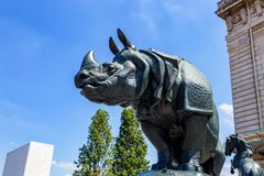 PARIS, FRANCE - JUNE 06, 2014: The Rhinoceros Statue Outside The Orsay Museum. Royalty Free Stock Images