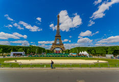Paris, France June 1, 2015: Beautiful and world famous Eiffel Tower rises up from the city on a glorious sunny day Stock Photo