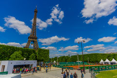 Paris, France June 1, 2015: Beautiful and world famous Eiffel Tower rises up from the city on a glorious sunny day Royalty Free Stock Image