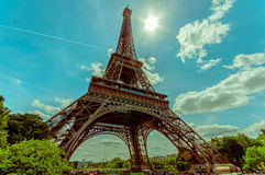 Paris, France June 1, 2015: Beautiful and world famous Eiffel Tower rises up from the city on a glorious sunny day Royalty Free Stock Photography