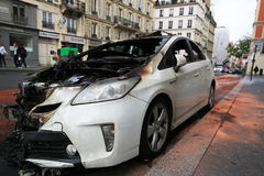 Paris, France - June 7, 2016 : Burned car in Paris, France on June 7,2016. Paris, France -Burned car in Paris, France on June 7,2016 royalty free stock photos