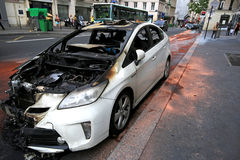Paris, France - June 7, 2016 : Burned car in Paris, France on June 7,2016. Paris, France -Burned car in Paris, France on June 7,2016 royalty free stock image