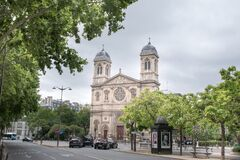 PARIS, FRANCE - June 6, 2020 : Church of Saint-Francois-Xavier seen from Boulevard des Invalides in Paris