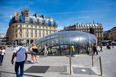Paris, France - June 29, 2015: Cour de Rome. Modern glass entrance to Saint-Lazare metro station royalty free stock images