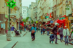 Paris, France June 1, 2015: Cozy and beautiful walking through historic city streets with incredible charm, spectacular Royalty Free Stock Photos
