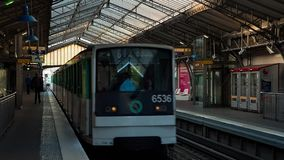 Trains on metro station timelapse. PARIS, FRANCE - JUNE 12, 2017 Departing train on metro station stock footage