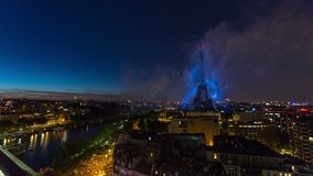 PARIS, FRANCE - JUNE 19, 2018: Eiffel Tower firework night timelapse at Bastille Day. Fast movement stock video
