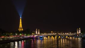 Eiffel Tower Timelapse Video over the Seine river. PARIS, FRANCE - JUNE 09, 2017: Eiffel Tower over Seine river night timelapse video stock video