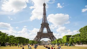 Eiffel Tower Timelapse Video over the Seine river. PARIS, FRANCE - JUNE 05, 2017: Eiffel Tower timelapse from the Champ de Mars by a sunny evening stock video