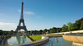 Eiffel Tower video from Trocadero Place. PARIS, FRANCE - JUNE 10, 2017: Eiffel Tower video from Trocadero Place on sunrise with fountains on foreground stock video