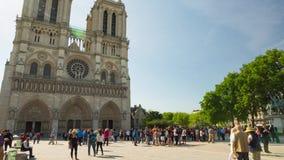 Notre Dame de Paris church cathedral daylight tilt and pan video stock video