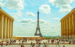 Paris, France June 1, 2015: Impressive Eiffel tower as seen from distance on a beautiful sunny day Stock Images