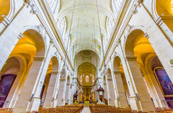 Paris, France June 1, 2015: Inside Church of Notre Dame in Versailles, beautiful arches and interior Stock Image