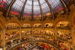 Interior view of the Galeries Lafayette mall. Paris, France - 25 June 2018: Interior view of the Galeries Lafayette mall Stock Photo