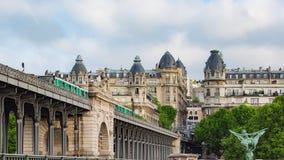 Metro train on the pont de Bir Hakeim bridge. PARIS FRANCE, JUNE 12, 2017: Metro train on the pont de Bir Hakeim bridge stock footage