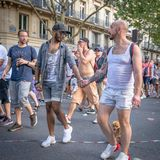A mixed racial men couple with small dog at the 2018 Paris Gay Pride royalty free stock image