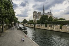 PARIS/FRANCE - June 2, 2017: Notre Dame of Paris, France, view from river on spear royalty free stock photos