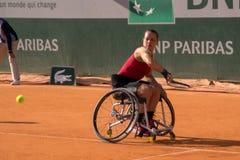 PARIS, FRANCE - JUNE 8, 2019: Roland Garros woman doubles wheel stock photos