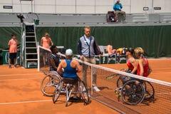 PARIS, FRANCE - JUNE 8, 2019: Roland Garros woman doubles wheel royalty free stock photography
