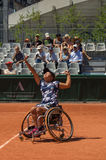 PARIS, FRANCE - JUNE 10, 2017: Roland Garros woman wheelchair fi Stock Images