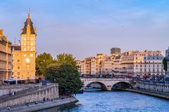 Saint-Michel bridge on Seine river at sunset - Paris, France stock photo