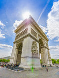 Paris, France - June 1, 2015: Spectacular view magnificent monument Arch of triumph. As seen from close range on a beautiful sunny day Royalty Free Stock Image