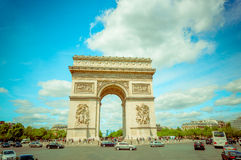 Paris, France - June 1, 2015: Spectacular view magnificent monument Arch of triumph. As seen from close range on a beautiful sunny day Stock Photos