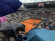 PARIS, France, June 7th, 2019 : Court Philippe Chatrier of the French Open Grand Slam tournament, in the rain before the royalty free stock photography