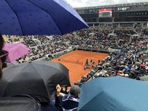 PARIS, France, June 7th, 2019 : Court Philippe Chatrier of the French Open Grand Slam tournament, in the rain before the royalty free stock photo