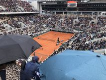 PARIS, France, June 7th, 2019 : Court Philippe Chatrier of the French Open Grand Slam tournament, in the rain before the stock photos