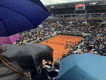 PARIS, France, June 7th, 2019 : Court Philippe Chatrier of the French Open Grand Slam tournament, in the rain before the royalty free stock photos