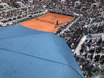 PARIS, France, June 7th, 2019 : Court Philippe Chatrier of the French Open Grand Slam tournament, in the rain before the royalty free stock image