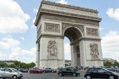 PARIS, France 02 June 2018: : The Triumphal Arch de l Etoile arc de triomphe . The monument was designed by Jean Chalgrin in 1806. In Paris Royalty Free Stock Photo