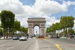 PARIS, France 02 June 2018: : The Triumphal Arch de l Etoile arc de triomphe . The monument was designed by Jean Chalgrin in 1806. In Paris Royalty Free Stock Images