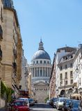 The Pantheon from rue Valette in Paris stock photo