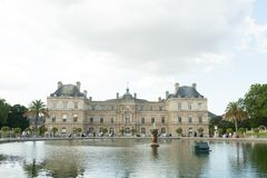 Paris France 02 June 2018: View of the Luxembourg palace, inside the public garden of the same name, one of the largest in Paris.  royalty free stock photos