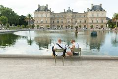 Paris France 02 June 2018: View of the Luxembourg palace, inside the public garden of the same name, one of the largest in Paris.  royalty free stock photo