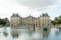 Paris France 02 June 2018: View of the Luxembourg palace, inside the public garden of the same name, one of the largest in Paris. Paris France 02 June 2018 royalty free stock photography